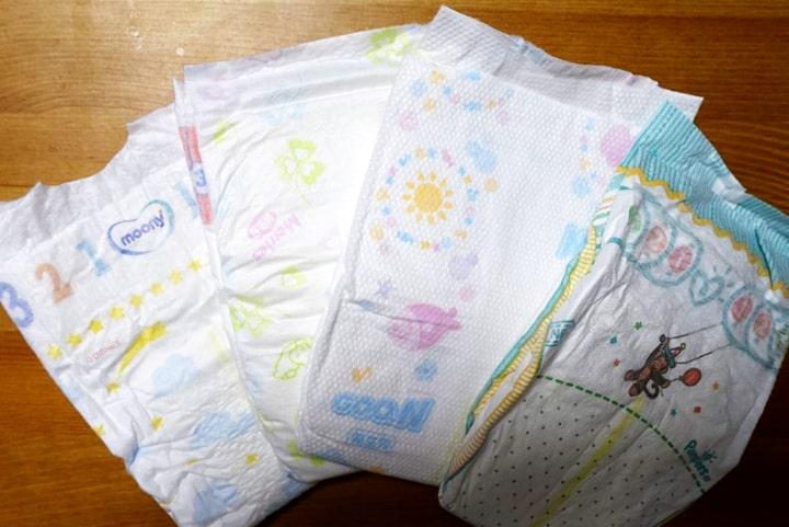新生児用紙おむつ4種類を比較。本当にあの紙おむつは小さいのか